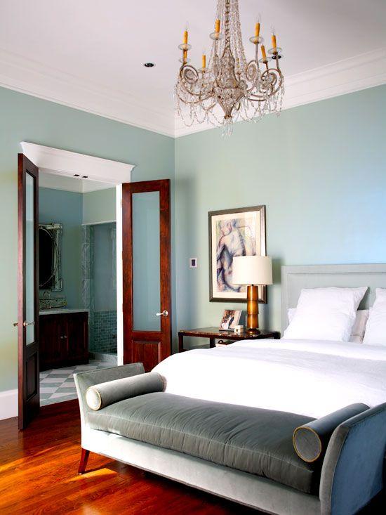 Beautiful gray-blue walls and warm floors!
