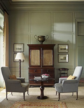 """Designer Phoebe Howard: """"This soft green (Benjamin Moore's Aganthus Green) has a wonderful mossy quality. It feels like a cool walk through a deeply shaded woods. I like the way it grounds a room. Anything looks good against it — blues, reds, corals, browns. How can you do better than a color found in nature?"""""""