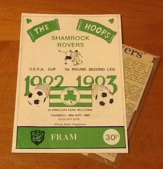 shamrock rovers v fram 30/9/1982 uefa cup with report from $28.52