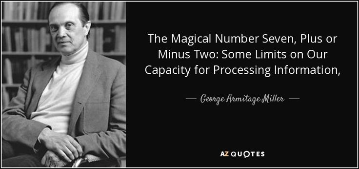 The Magical Number Seven, Plus or Minus Two: Some Limits on Our Capacity for Processing Information, - George Armitage Miller