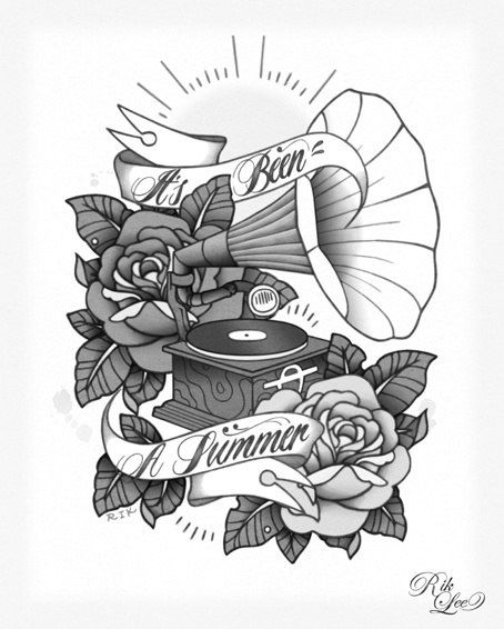 traditional gramophone tattoo