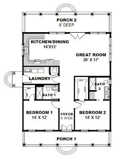 This Cottage Design Floor Plan Is 1292 Sq Ft And Has 2 Bedrooms Bathrooms