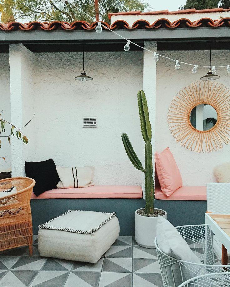 pink bench seat + string lighta