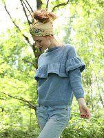 Красивая блуза с рюшами вязаная спицами. О.п.