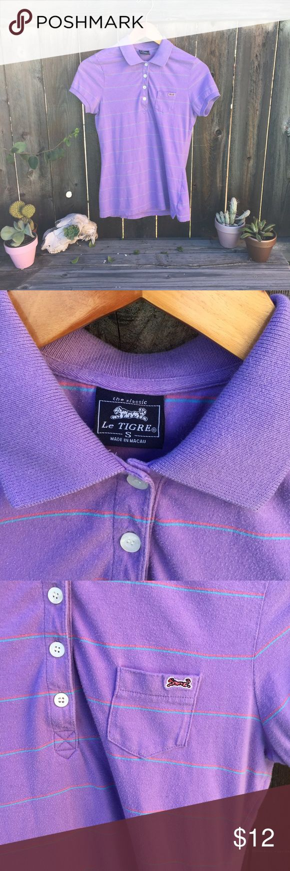 """VTG 90s Le Tigre light purple striped shirt- SZ S 90s le Tigre shirt- SZ S light purple with coral teal stripes - front length 22"""" armpit to armpit 17.5"""" has piling see pix- no rips or stains :) Vintage Tops Tees - Short Sleeve"""