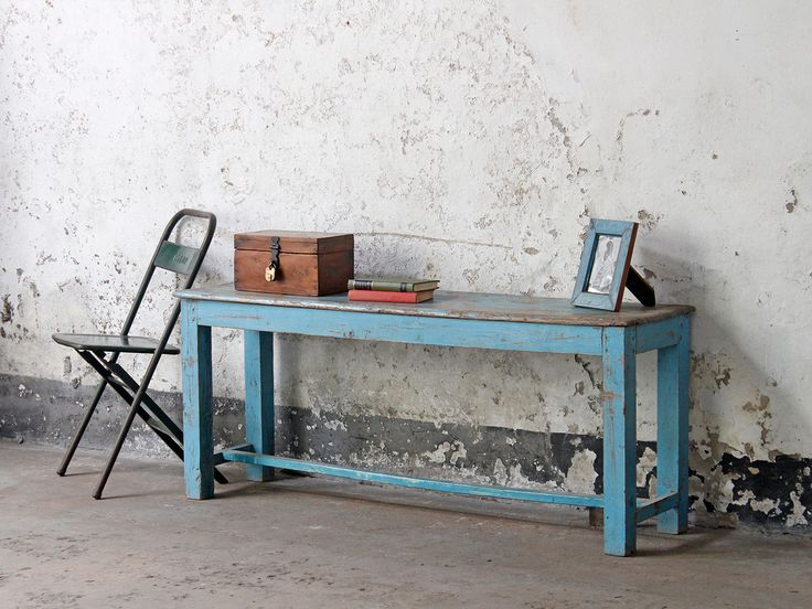 Blue Vintage Wooden Bench that could be used in a hallway for storage or a kitchen  / diningroom.
