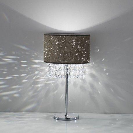 GLITTER Antea Luce, Lampada da tavolo Design Moderno Con Paralume e Cristalli pendagli
