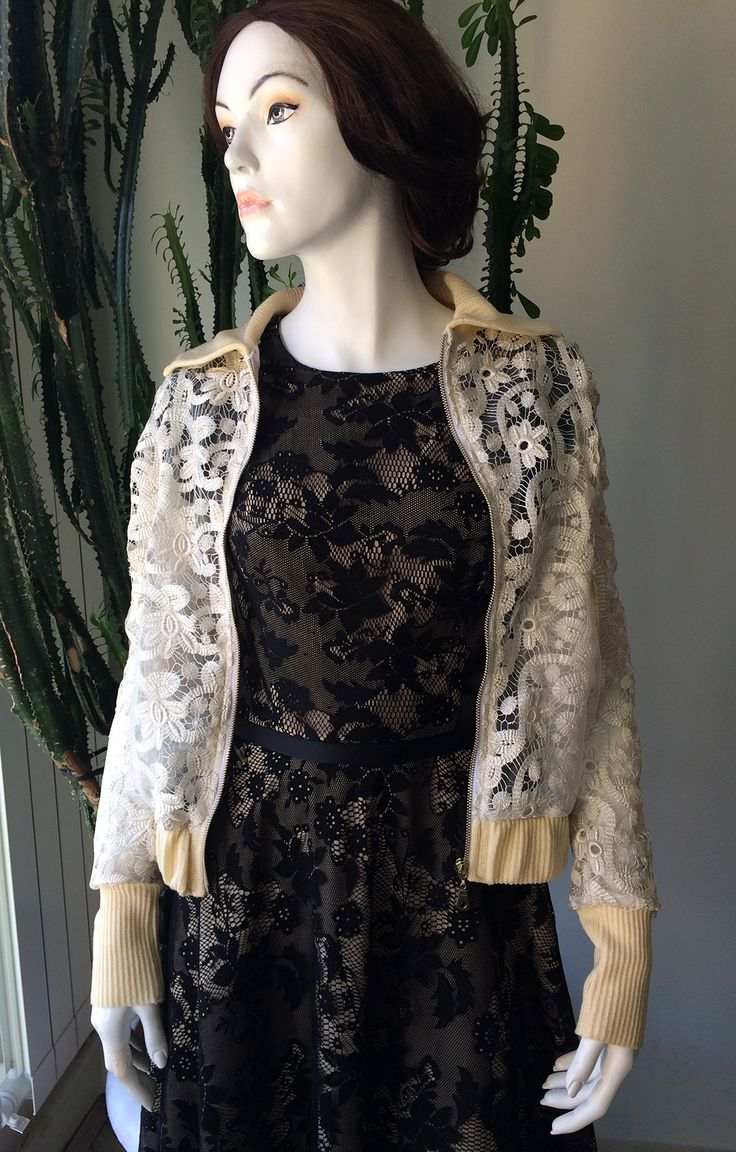 Black lace dress with jacket from cream lace