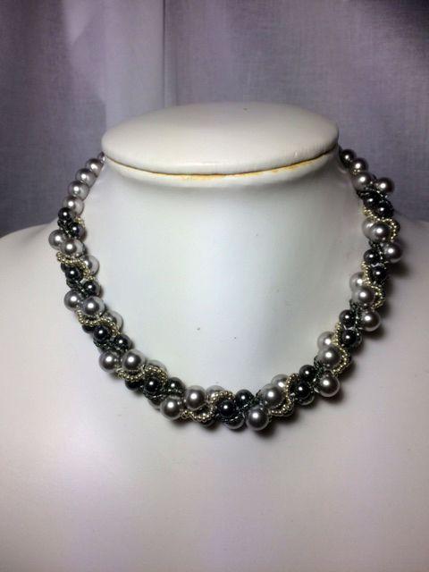 Zelkova Beads Crochet Swarovski Pearl GreyLt Grey $50