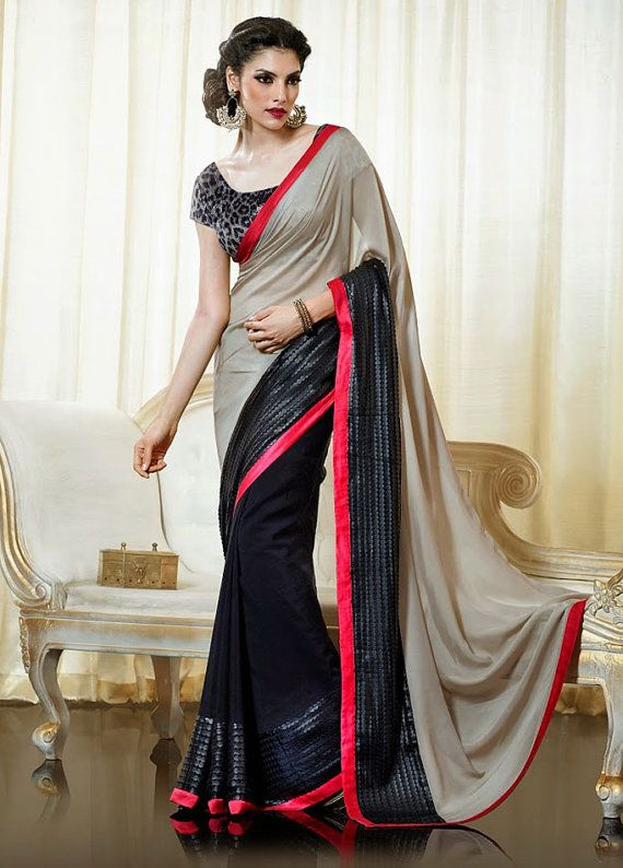 #PartyWear Grey & Black #Georgette #Designer  #Saree