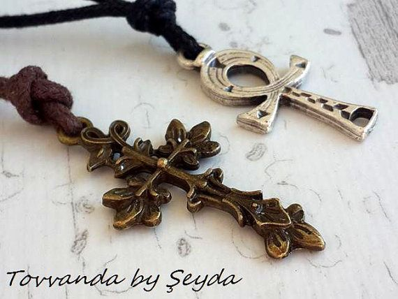 Cross Necklace Bohemian Style Necklace Handmade Necklace