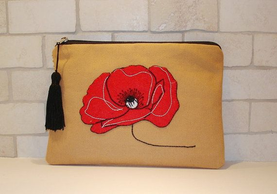 Red poppy  fabric pouch bag clutch Handmade Embroidered by Apopsis