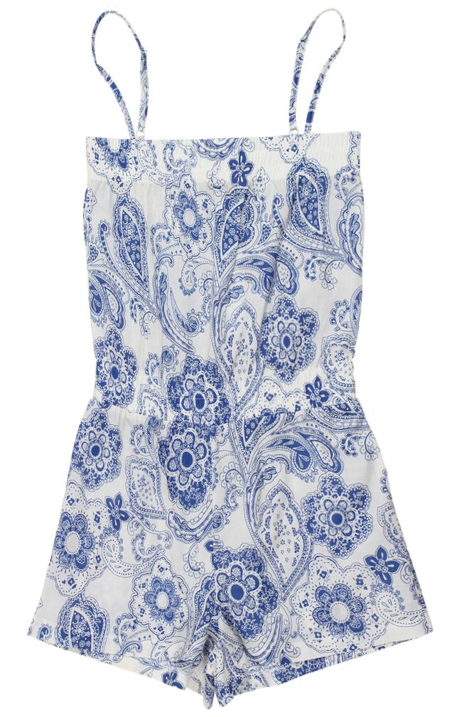 Stella Cove | Paisley Print In Blue Cotton Jumpsuit For Girls