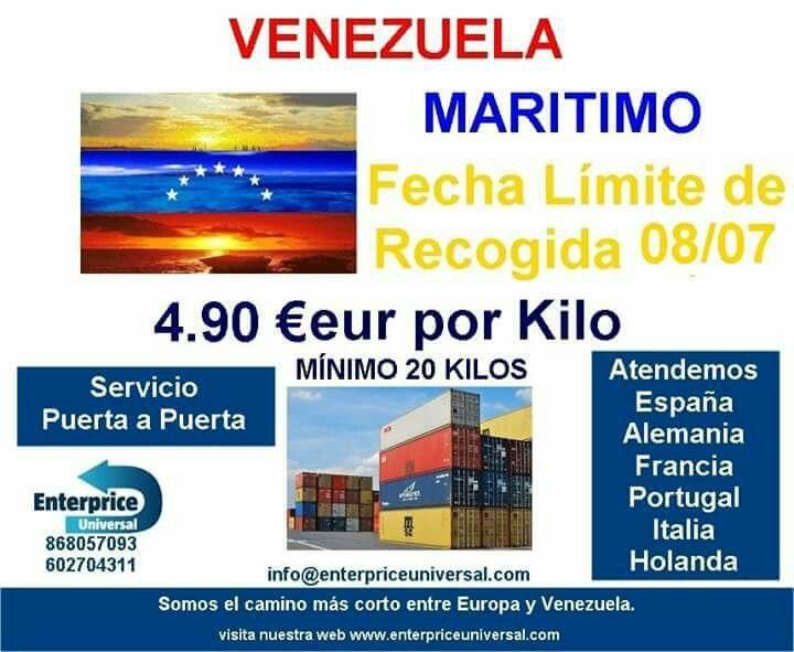 Somos  operadores logísticos en Venezuela. Envia con confianza.  Mas información 602704311 - 868057093 info@enterpriceuniversal.com