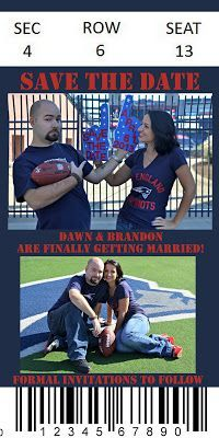 Cute save the date idea - Patriots tickets!