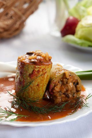 Filled zucchini with mushrooms