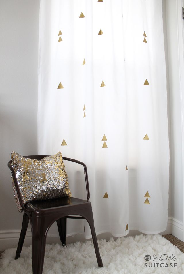 My Sister's Suitcase: DIY Curtains with a Metallic Twist