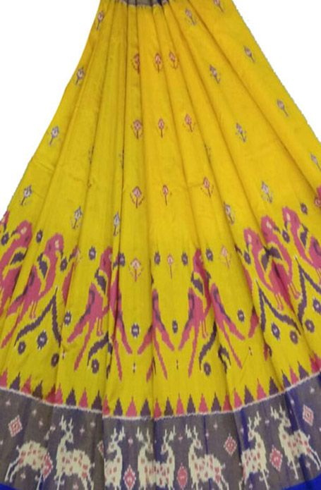 Yellow Handloom Ikat Pure Silk Lehenga
