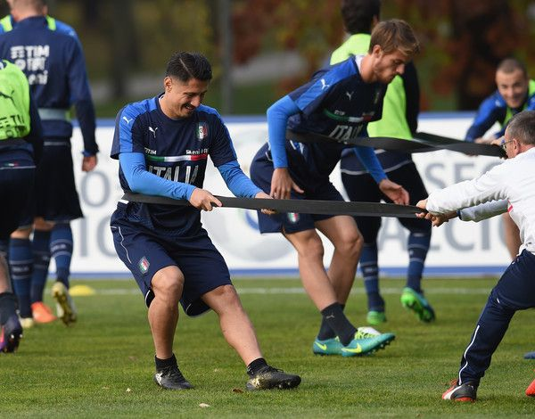 Gianluca Lapadula of Italy in action during a training session at Milanello on November 13, 2016 in Cairate, Italy.