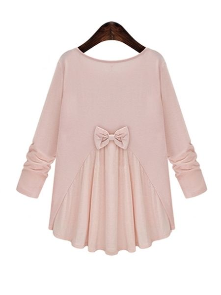 Back Bowknot Sweet Patchwork Long-sleeve-t-shirt Only $18.95 USD More info...