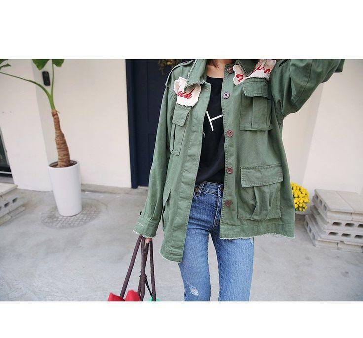 Fray-Edge Lettering Military Jacket