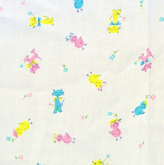 Vintage 1960s Fabric Childrens Cotton Cats Chicks by Revvie1, $18.00