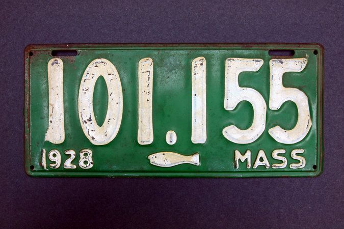 "In 1928, fishermen in Massachusetts blamed their low catch on the Registry of Motor Vehicles after the image of a codfish was added to the state's license plates. The image was deemed too small, and the fish was swimming away from the ""MASS"" lettering on the plate. It was changed to a more substantial codfish, swimming toward MASS, a year later. Its effect on the fortunes of fishermen is unknown."