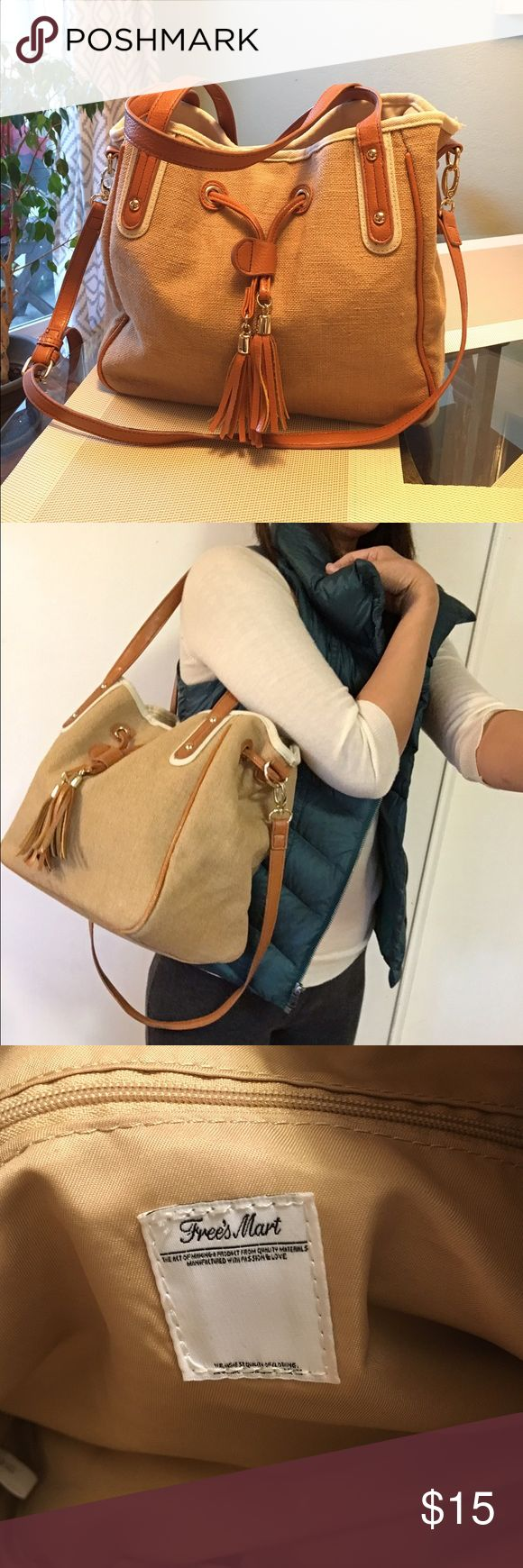 Brown lien and cotton tote/ hand bag Bought in Japan department store while traveling (2016.08). Linen and cotton fabric. Gold metal tone. Man made leather. Light and can carry lots. Free's Mart Bags Totes