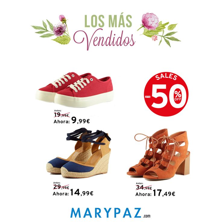 Variedad de estilos en los más vendidos de esta semana... TODOS AL 50% DE DESCUENTO !!!! ¡¡ R E B A J A S MARYPAZ !! Visita tu tienda MARYPAZ más cercana o entra ya en nuestra Online Store y disfruta de hasta el 50% de descuento en muchos de nuestros productos !!! #rebajas #sales #SS16 #shoelfie #shoesobssession #bestoftheweek #losmasvendidos #obsesionadaconloszapatos #obsesion #tendencias #locaporlamoda #springsummer #primaveraverano #SS16 #BFF #b