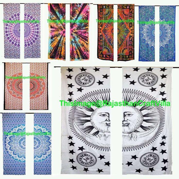 Mandala Curtains Peacock Ombre Tie Dye Window Treatment Drapes Valances 2 Pc Set #Handmade #Asian
