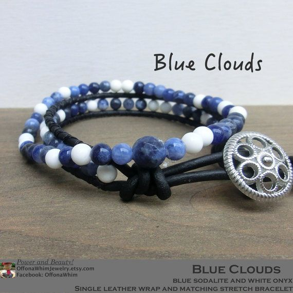 Father's Day Bracelet Set/ Leather Wrap Stretchy Japanese Power Stone Gemstone…