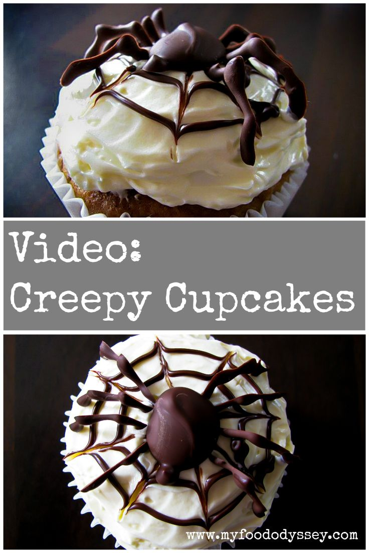 Video recipe for Creepy Pumpkin Cupcakes with Chocolate Spiders.