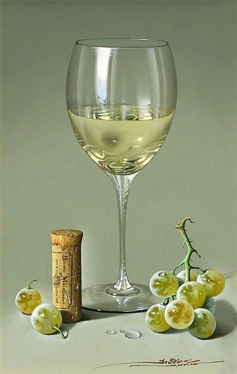 Painting or photo? Beautiful wine.