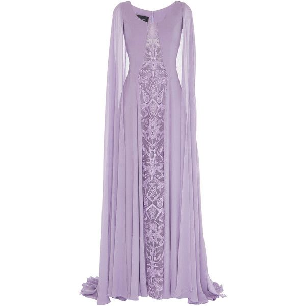 Georges Hobeika Draped Sleeves And Cape Dress ($4,680) ❤ liked on Polyvore featuring dresses, gowns, gown, long dresses, purple, draped evening gown, purple evening gowns, purple ball gowns, drape dress and sleeved dresses