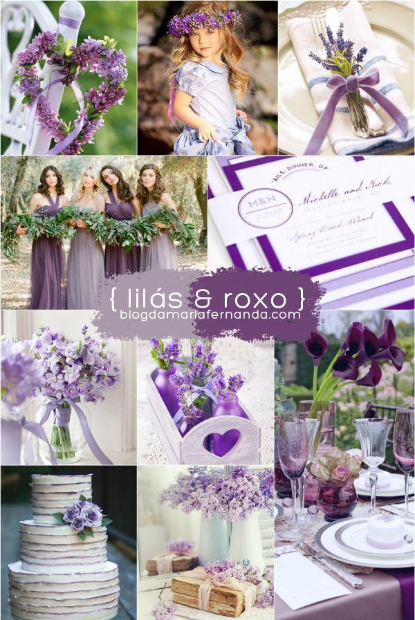 Decoração de Casamento Paleta de Cores Lilás e Roxo | Inspiration Board Wedding Color Palette Lilac and Purple | http://blogdamariafernanda.com/decoracao-de-casamento-paleta-de-cores-lilas-e-roxo
