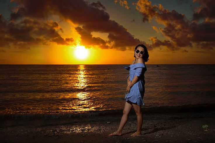Chinese girl on the beach in Bali