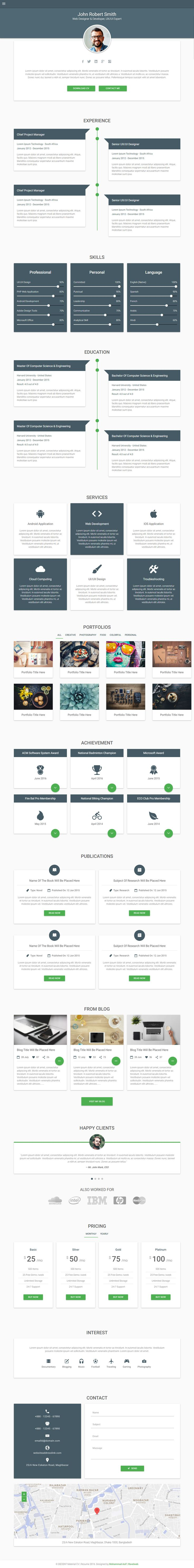 decent is premium responsive retina html5 template material design bootstrap 3 one page cv templatewebsite templatetemplatesbest resumematerial design