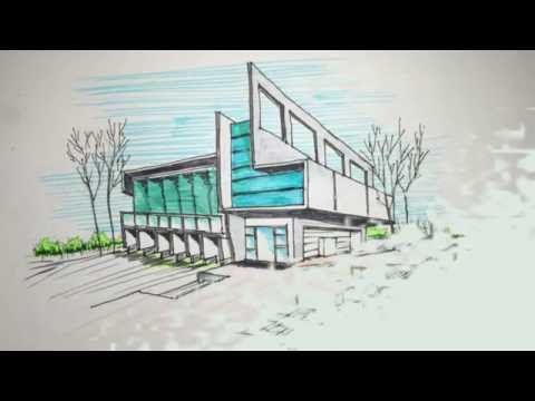 two point perspective freehand building drawing - YouTube