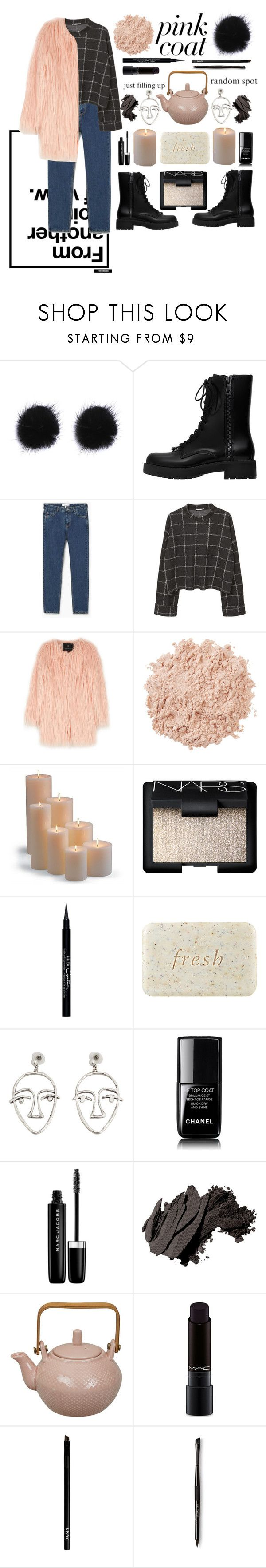 """""""pink coat"""" by lotussss ❤ liked on Polyvore featuring MANGO, Unreal Fur, La Mer, Frontgate, NARS Cosmetics, Givenchy, Fresh, Chanel, Marc Jacobs and Bobbi Brown Cosmetics"""
