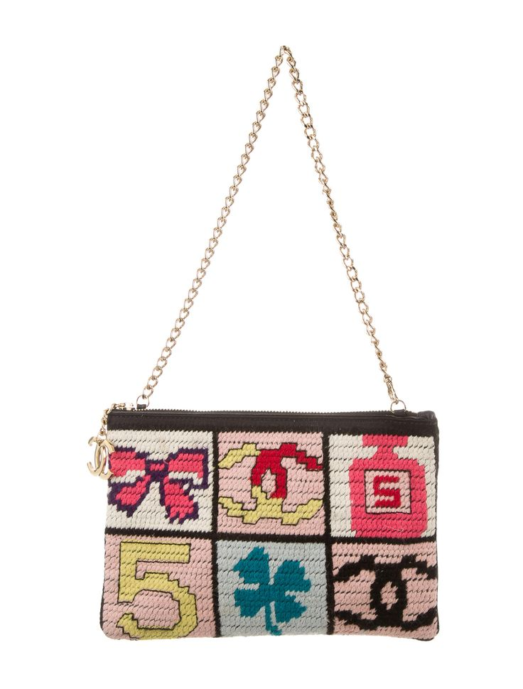 Pink and multicolor needlepoint Chanel Precious Symbols Pochette with gold-tone hardware, chain-link shoulder strap, black jacquard logo lining, single open pocket at interior wall and zip closure at top. Serial number reads 8164664. Includes authenticity card. Shop authentic designer handbags by Chanel at The RealReal.