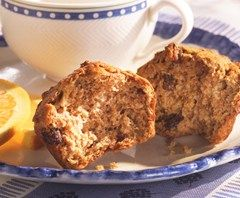Bran Flake Muffins - 180 calories  Hint- moisten bran flakes in milk before mixing in.  Great warm from the oven!  Store in an airtight container.