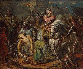 Bataille de Ravenne. Mort de Gaston de Foix-Nemours. Par Ary Scheffer (vers 1824)-. Anne Montmorency participe à plusieurs batailles dont celles de Ravenne (1512) et Marignan (1515). Les qualités militaires sont révélées par la défense de Mézières (1521) qu'il dirige avec Bayard, et par la prise de Novare (1522) qui le fait maréchal de France. Prisonnier à Pavie en 1525 avec le roi, il est libéré contre rançon et se retrouve négociateur dans le traité de Madrid (1526)