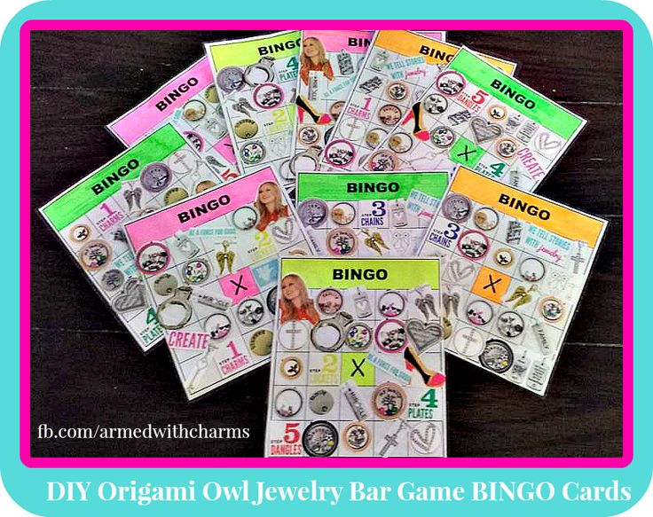 Origami Owl Jewelry Bar Game Idea. DIY Bingo cards Print BINGO template. Cut out charms, lockets, etc from catalogs, laminate, and use dry erase markers at the party! Award the free square if they book a party!  www.facebook.com/armedwithcharms www.brittanyslockets.origamiowl.com