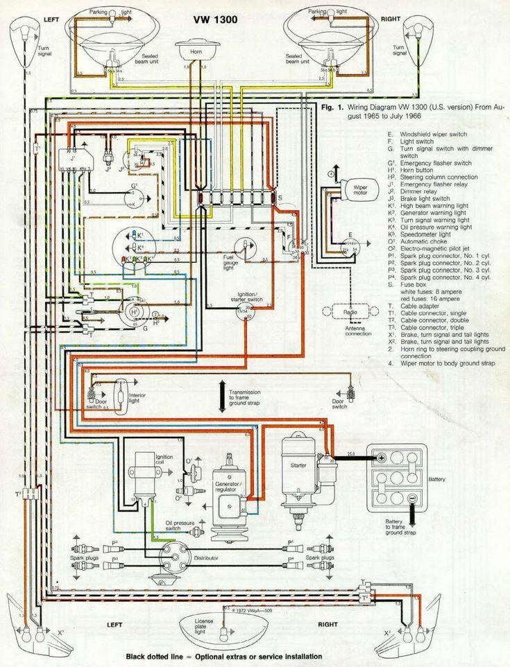 Wiring Diagram For A Vw Beetle in 2020 | Volkswagen ...