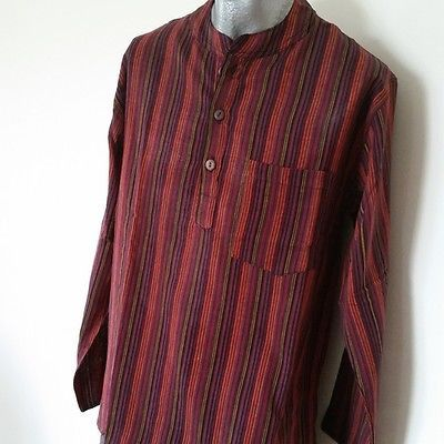 NEW-Nepal-Fair-Trade-Casual-Summer-100-Cotton-Shirt-Grandad-Collar-Stripe-Kurta