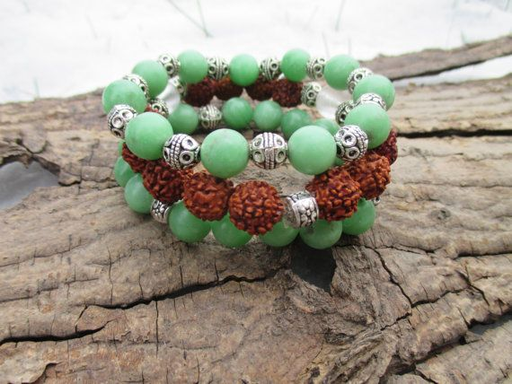 Jade and Rudraksha Stackable Bracelets by StayingGrounded on Etsy
