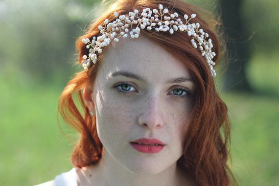 Bridal pearl headpiece - this hair vine is completely wired by hand with attention to detail. This woven pearl headband is made with hundreds of