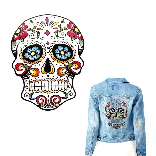 FENGRISE Skull Embroidered Patch Applique Heat Transfer Stickers T Shirt Printing Sewing On Patches Patchwork Sewing Accessories