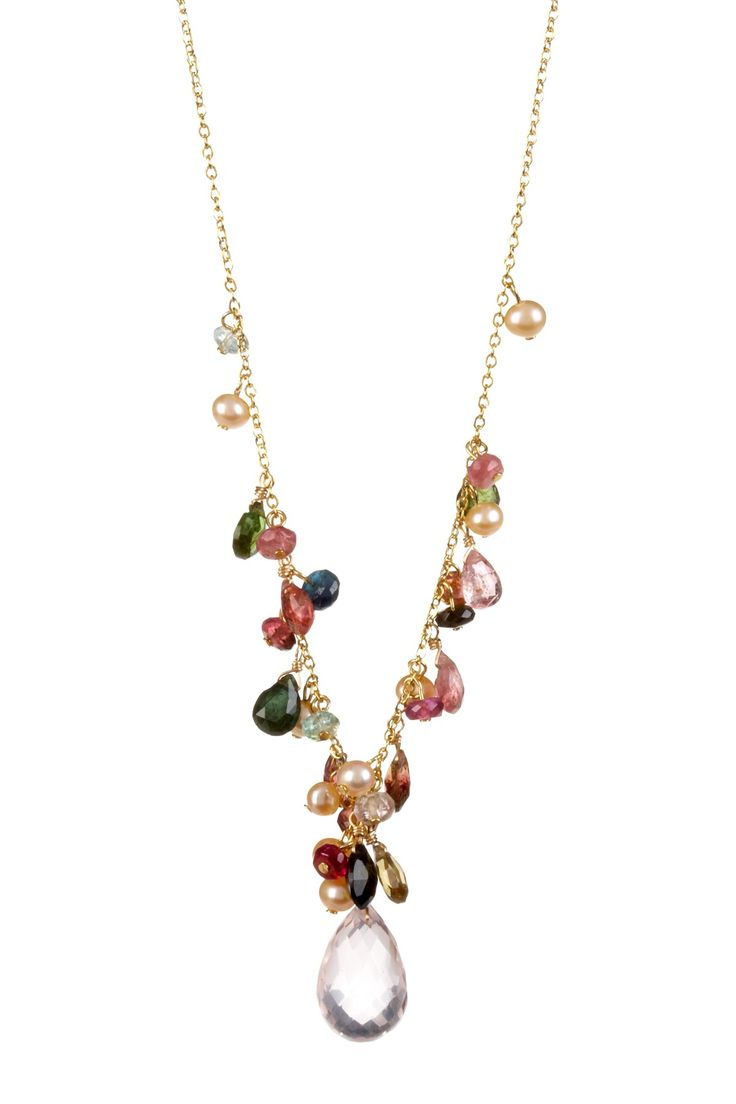Candela Rose Quartz, Tourmaline & Freshwater Pearl Necklace