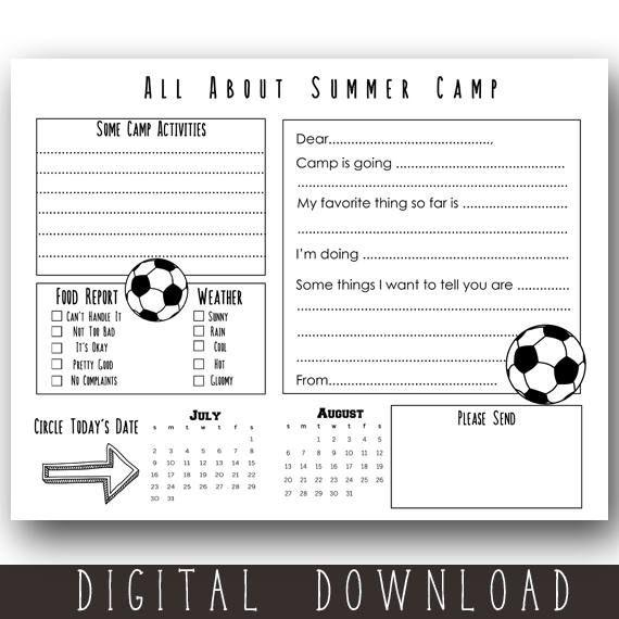 Printable Sport Camp Stationery / Printable Soccer Camp
